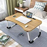 Seventh Sky Home Folding Laptop Bed Tray Table, Portable Lap Support Frame, Bedroom Desk Notebook with Breakfast Cup Slot, Student Study Table. (Wooden)
