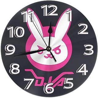 掛時計 壁掛け時計 アナログ クロック インテリア 丸型 静音 北欧 オーバーウォッチ 印刷 掛置兼用 フラットフェイス ホーム ベッドルーム キッチン用 直径25cm 部屋装飾