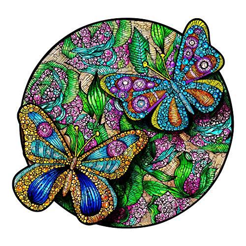 Jigsaw Puzzle aus Holz, mit 300 bunten Tieren, für Erwachsene und Kinder (Schmetterling)