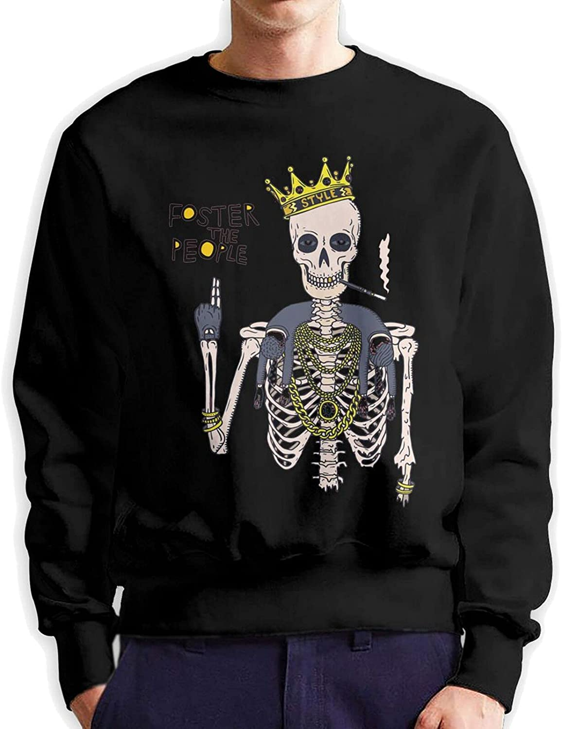 Foster The People Men'S Long Sleeve Printed Pullover Cotton Black
