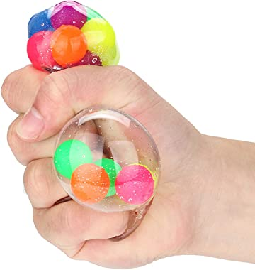 Sensory Toy, Darkduke Stress Relief Ball for Adults, Squeeze Ball/Sensory Ball, Rainbow LED Stress Ball, Ideal for Autism, Id