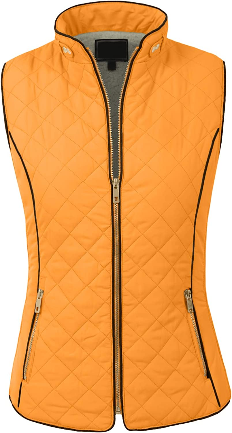 NE PEOPLE Womens Reversible Lightweight Quilted sleeveless Two Pocket Zipper Vest (S-L)