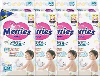 Merries Tape Diapers L, 54ct (Pack of 4)
