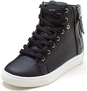 Women's Casual High Tops Zip Lace Up Hidden Wedges Shoes Fashion Sneakers