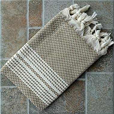 Dandelion - Herringbone Pattern - Set of 2 Naturally-Dyed Cotton Turkish Hand Towels Peshkir - 35x19 Inches - Beige