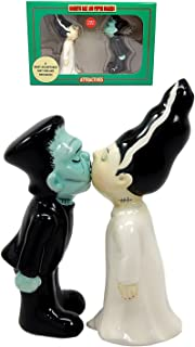 Day Of The Dead Mr & Mrs Frankenstein Monster Ceramic Salt Pepper Shakers Figurine Set