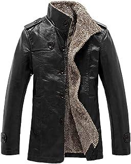 Brillientreprise Men Windproof PU Leather Jacket Faux Fur Casual Wear Warm & Fashion Designed Coat Outerwear