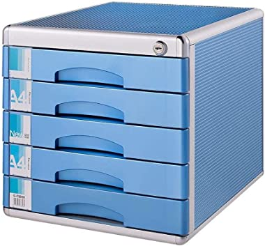 Drawer File Cabinet Filing 5 Layer Short Storage/Desktop Low Cabinet Office Market Bank Security Lock Aluminum Alloy, Stable Sturdy Durable