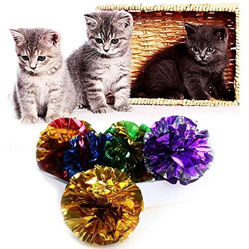 Kofun Teething Toy Balls Bones pour Pet Dog Kitten Cat Durable Flossy Pull Peluche Brillant Boule de Papier 1pc Couleurs au Hasard