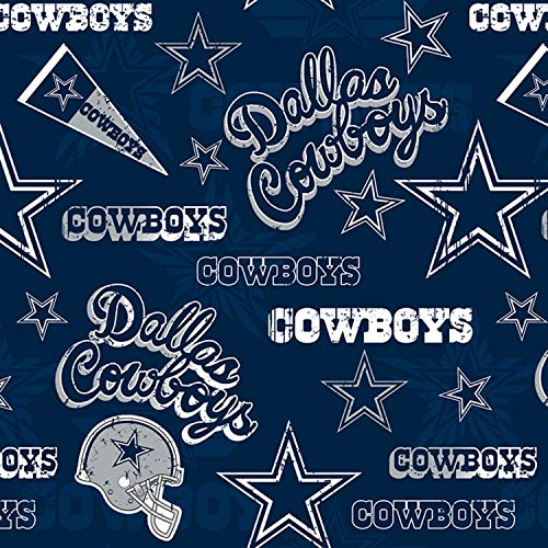 """Dallas Cowboys NFL Football in Navy Blue 58"""" Wide 100% Cotton Fabric by The Yard"""