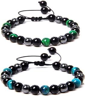 2Pcs Handmade 8mm Colorful Beads Natural Gemstone Adjustable Braided Rope Bangle Bracelet Set Couple Friendship Minimalist...