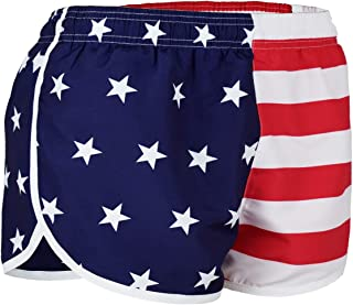 Women's American Flag Running Shorts with Side Split