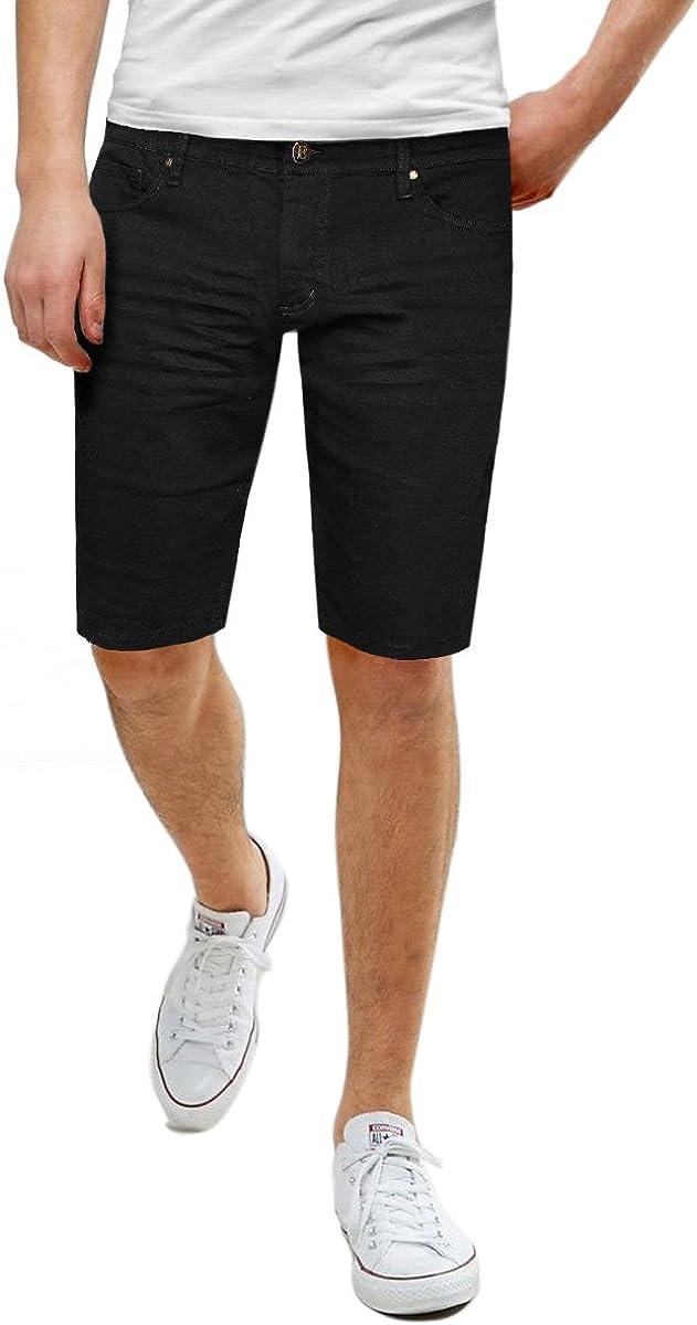 ETHANOL Men's Super Comfy Stretch Flex Slim Fit Denim Twill 11 inch Shorts