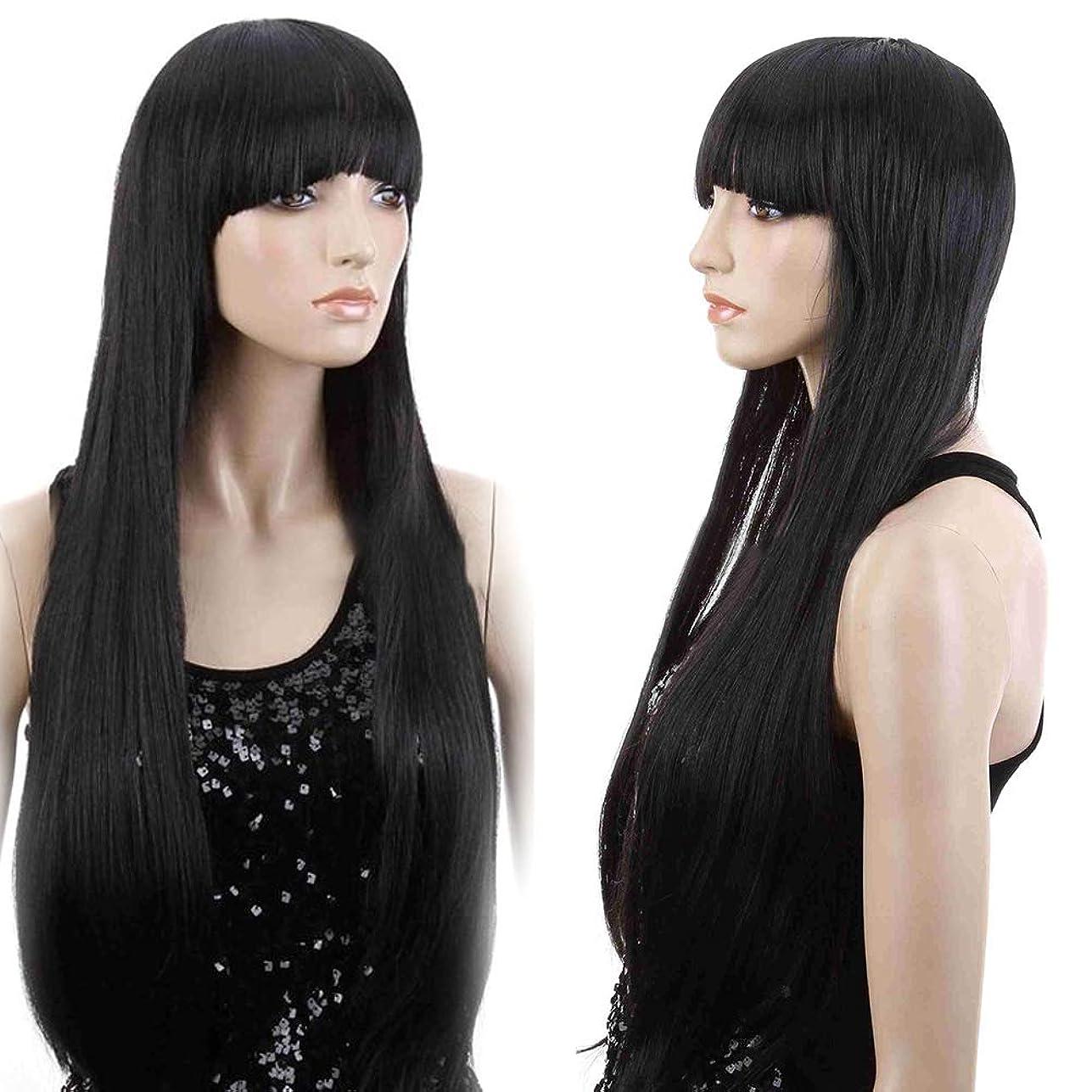 写真挨拶カートンslQinjiansav女性ウィッグ修理ツール女性前髪耐熱性ロングストレートウィッグコスプレパーティー合成ヘアピース