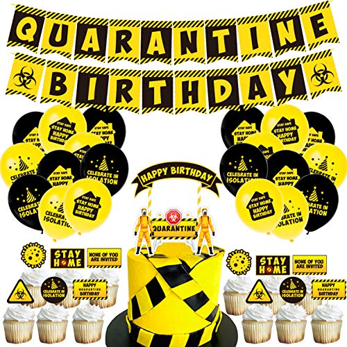 Quarantine Birthday Party Decoration Birthday Banner Quarantine Theme Party Balloons Birthday Flag Cupcake Toppers Set Social Distancing Party Decor Stay Home Birthday Supplies Decorations
