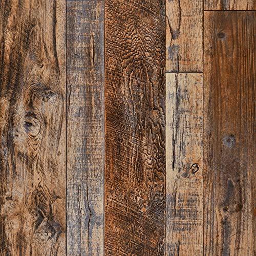 "Wenmer 17.71"" x 118"" Brown Wood Peel and Stick Wallpaper Shiplap Self Adhesive Wallpaper Wood Plank Wallpaper for Countertop Cabinet Shelf Drawer Wall Door"