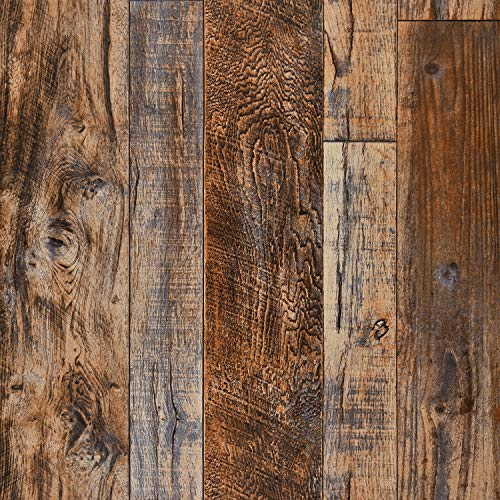 "Wenmer 17.71"" x 118"" Brown Wood Peel and Stick Wallpaper Shiplap Self Adhesive Wallpaper Wood Plank Wallpaper for Countertop Cabinet Shelf Drawer Wall Door"