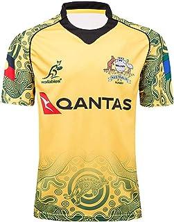 2017オーストラリアワラビーズワールドカップラグビージャージーメンズラグビーコットンジャージーグラフィックTシャツメンズコンペティショントレーニングスウェットシャツ100%ポリエステル通気性生地-XXL_黄