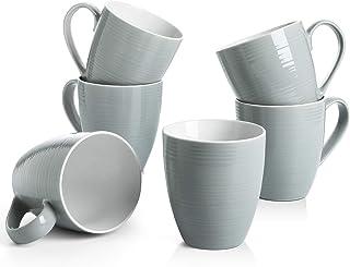 لیوان قهوه DOWAN ، لیوان قهوه 17 اونس 6 تایی ، لیوان چای موج دار ، خاکستری