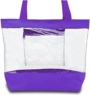 Clear Tote Bag with Zipper and Interior Pocket Clear Purse Medium Size (Purple)