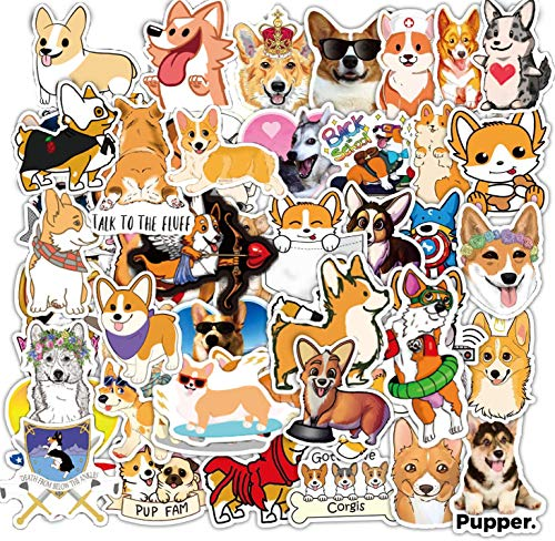 50 Pcs Welsh Corgi Stickers Decals for Water Bottle Hydro Flask Laptop Luggage Car Bike Bicycle Waterproof Vinyl Stickers Pack