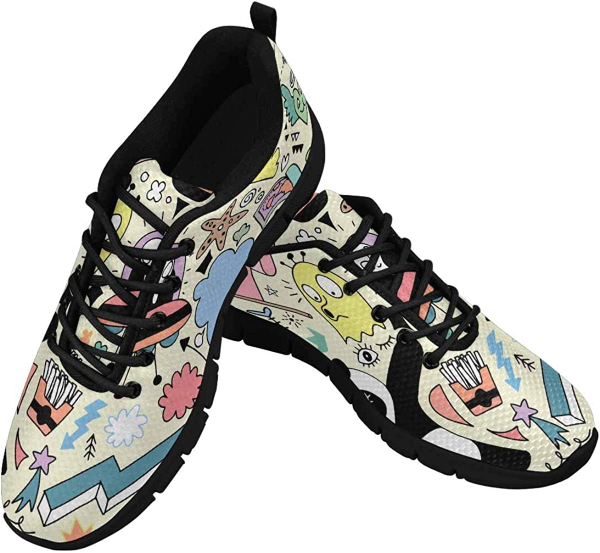 INTERESTPRINT Animal Party Women's Athletic Mesh Breathable Casual Sneakers