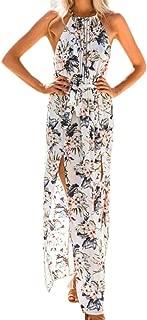 Women Boho Floral Print Halter Loose Sleeveless Chiffon Corset Maxi Dress