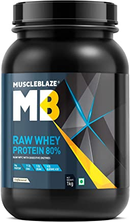 MuscleBlaze Raw Whey Protein - 2.2 lb/ 1 kg, 33 Servings (Unflavoured)