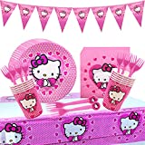 Hello Kitty Decoraciones Cumpleaños Kit - Miotlsy 52pcs Theme Accesorio de Decoracion de Fiesta de Cumpleaños Apoyo para Vajilla para Artículos De Fiesta Complete Party Supplies Kit Baby Shower