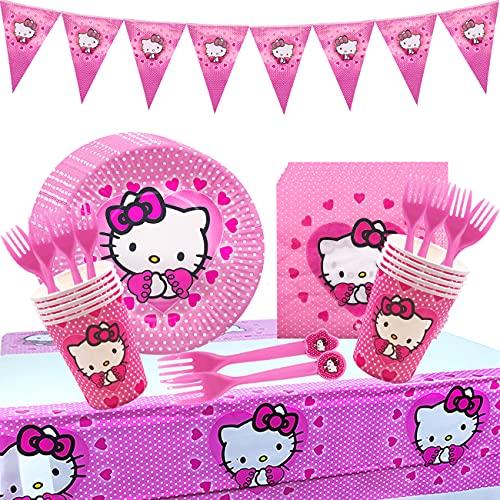 Hello Kitty Birthday Party Set - Miotlsy 52 pezzi Theme Tazze Tovaglioli Posate Kit di Decorazione Stoviglie di compleanno, Stoviglie colorate per feste di compleanno per bambini per 10 persone