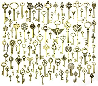 AYSM Mixed Set Of Vintage Skeleton Keys In Antique Bronze Of Different Size As Ornamental Decorations For Party Favors, Necklaces, Arts And Crafts(Bronze Set of 100 PCS) AFJJ (Color : Bronze)