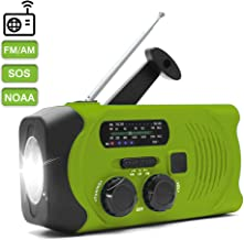 NOAA Weather Radio for Emergency Solar Hand Crank Self Powered Portable Radio, AM/FM Radio with LED Flashlight,SOS Alarm,2000mAh Power Bank Cell Phone Charger (Green)