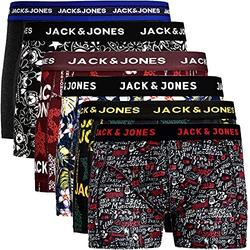 JACK & JONES Boxershorts 6er Pack Herren Trunks Shorts Baumwoll Mix Unterhose (M - 6er, Mehrfarbig Bunt @2)