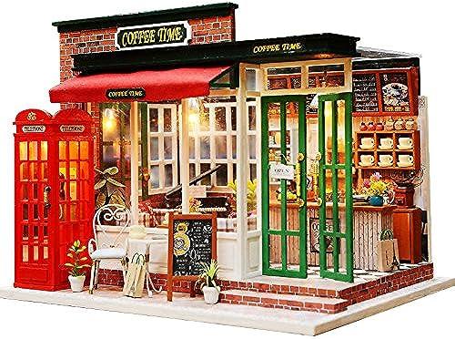 DIY Dollhouse Toy Miniature Box Puzzle Dollhouse DIY Kit Doll Haus M l Coffee Shop Model Geschenk Für Kinder 230x180x173mm