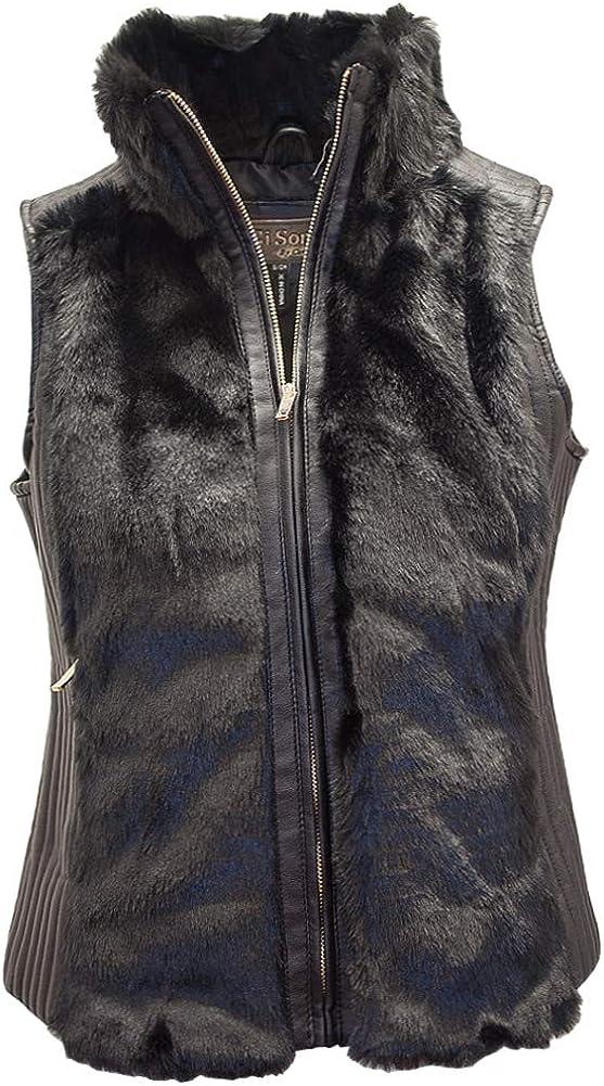 FV12 CiSono Faux Fur Zipup Vest with Pu Leather Accent
