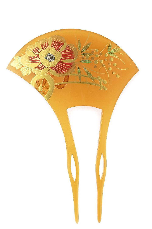 (ソウビエン) バチ型簪 べっ甲色 鼈甲色 べっこう色 金 牡丹 花車 蒔絵調 二本足 髪飾り かんざし フォーマル ヘアアクセサリー 日本製