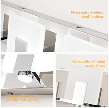 Modern LED Bathroom Vanity Lights Over Mirror with Spotlight Dimmable Acrylic Wall Lighting Fixtures for Bath 3 Lights in Chr
