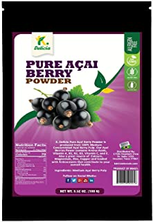 K DELICIA Acai Berry Powder, 3.52 oz. Resealable Pack | Pure and Raw Acai Powder from Brazil | Source of Antioxidant, Fibe...