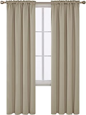 Deconovo Home Decorations Rod Pocket Blackout Curtains Thermal Insulated Curtains Room Darkening Curtains for Bedroom Beige (7 Feet-Door) 52W x 84L Inch 2 Drapes