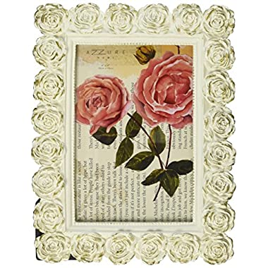 Azzure Home Rose Resin Decorative Picture Frame for Table Top or Wedding Table Décor, 4x6, Cream & Gold