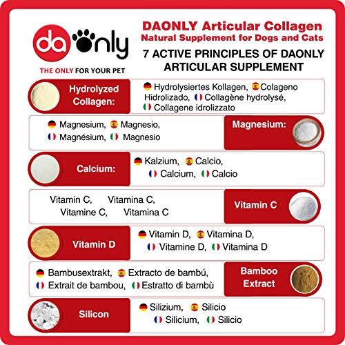 DAONLY Collagene Naturale Antinfiammatorio per Cani |180 Compresse| Integratori per Articolazioni | Alternativa ai farmaci Condroprotettori per Gatti