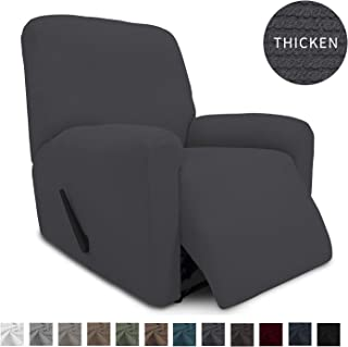 Easy-Going Thickened Recliner Stretch Slipcover, Sofa Cover, Furniture Protector with Elastic Bottom, 4 Pieces Couch Shield, Sturdy Fabric Slipcover, for Pets,Kids,Children,Dog (Recliner,Gray)