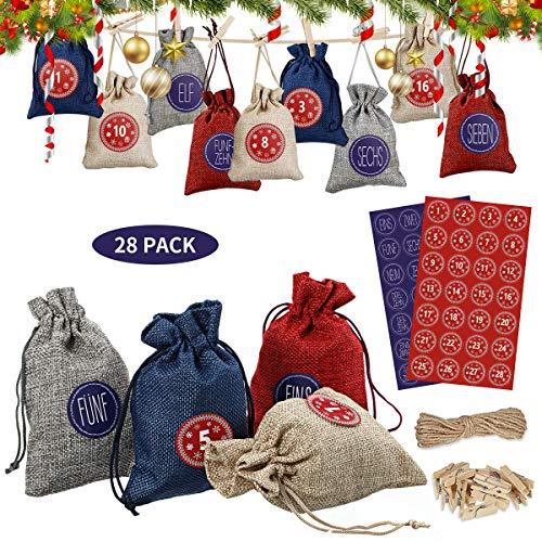NASUM Adventskalender 28 pcs zum Befüllen, Stoffbeutel Weihnachten Geschenksäckchen mit 56 Adventszahlen Aufkleber, Weihnachtskalender Bastelset für Familie DIY Handwerk