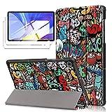 LYZXMY Funda para Lenovo Tab M10 HD (2nd Gen) 10.1' TB-X306F / TB-X306X + [2 Piezas] Vidrio Templado - Carcasa Silicona Tablet Cover con Soporte Función Caso PU Flip Case - Graffiti