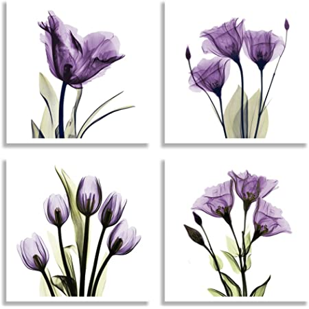 Amazon Com Hlj Art 4 Panel Elegant Tulip Purple Flower Canvas Print Wall Art Painting For Living Room Decor And Modern Home Decorations Photo Prints 12x12inch Purple S Posters Prints