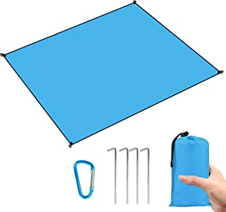 Perkisboby Beach Mat, Beach Blanket Sand Free,Picnic Blanket Waterproof 83''×75'' Large Blanket for Travel, Camping, Hiking, Durable Sand Proof Blanket with 4 Ground Stakes,Carabiner