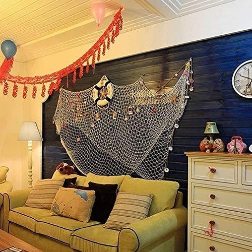 XINLINTRA Red de Pesca Cosida a Mano/decoración para tu casa o Restaurante, Estilo mediterráneo, Color: 1,5 m x 2 m Blanco
