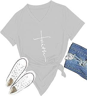 Women Cross Faith T-Shirt Printed V-Neck Letter Christian Graphic Cute Tees