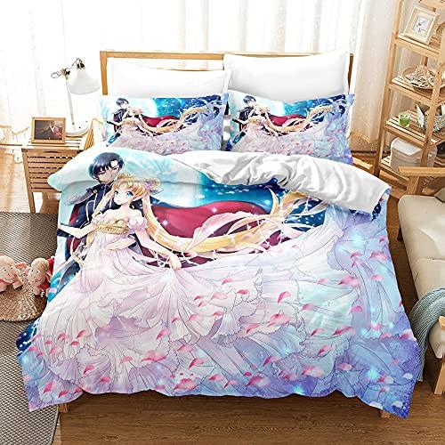 yijia0213 3D Sailor Moon Japan Anime Game Ropa de Cama Pillowcases Edredón Edredón Ubicado |Ropa de Cama de Fotos 3D (Color : 2, Size : 220 * 240cm)