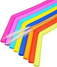 DIRECT FROM FACTORY Set of 8 Bent Silicone Straws + 2 Cleaning Brush - 10 Inches Big & Reusable Silicon Straw – FDA Approved, BPA Free, Food Grade – Flexible Drinking & Smoothies Straw for Tumblers